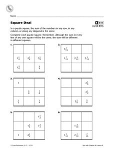 Square Deal Worksheet
