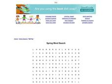 Spring Word Search Worksheet