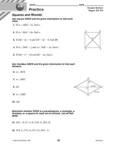 Squares and Rhombi Worksheet