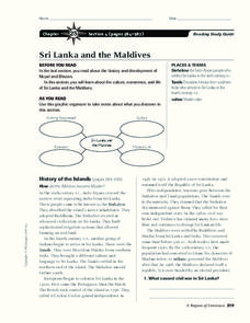 Sri Lanka and the Maldives Worksheet