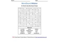 St. Patrick's Day Word Search Puzzle Worksheet
