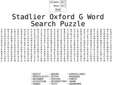 Stadlier Oxford G Word Search Puzzle Worksheet