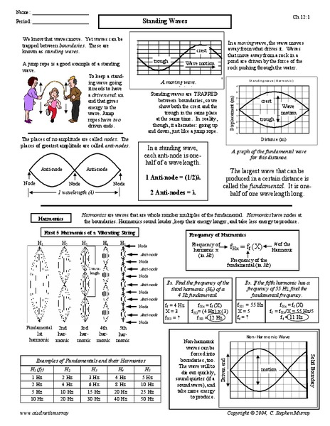 Standing Waves Worksheet For 9th 12th Grade Lesson Planet