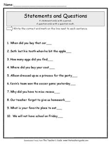 Statements and Questions Worksheet for 1st - 3rd Grade ...