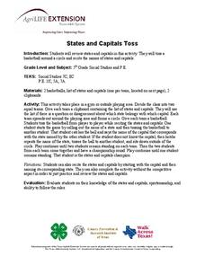 States and Capitals Toss Lesson Plan