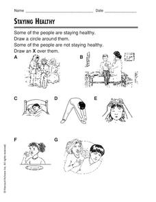 Staying Healthy Worksheet for 1st - 2nd Grade | Lesson Planet