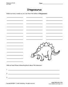 Stegosaurus Worksheet