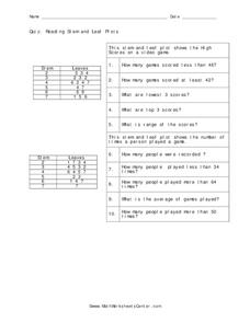 Stem and Leaf Plots Worksheet