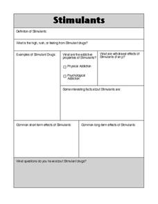 Stimulants Worksheet
