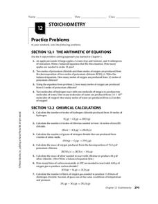 Stoichiometry Worksheet