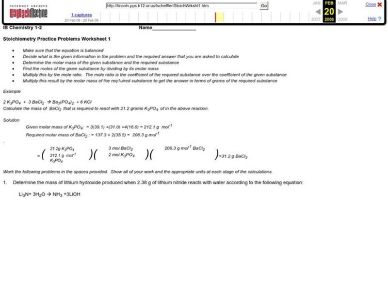 Stoichiometry Practice Problems Worksheet For 10th