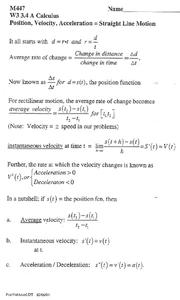 Straight Line Motion Worksheet