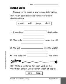 strong verbs worksheet for 2nd 3rd grade lesson planet. Black Bedroom Furniture Sets. Home Design Ideas