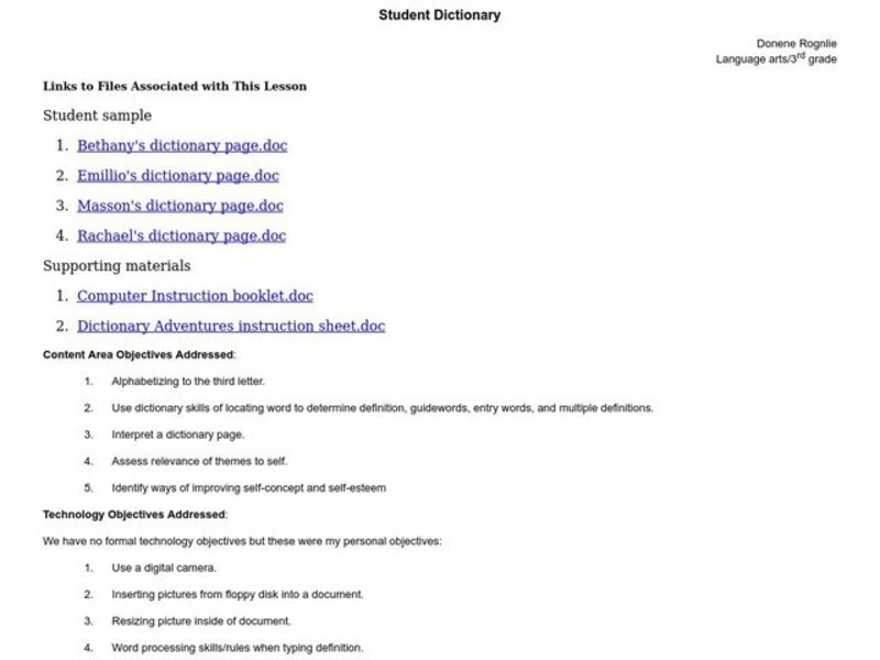 Student Dictionary Lesson Plan