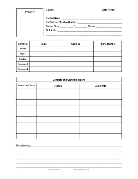 Student Information Sheet Printables & Template