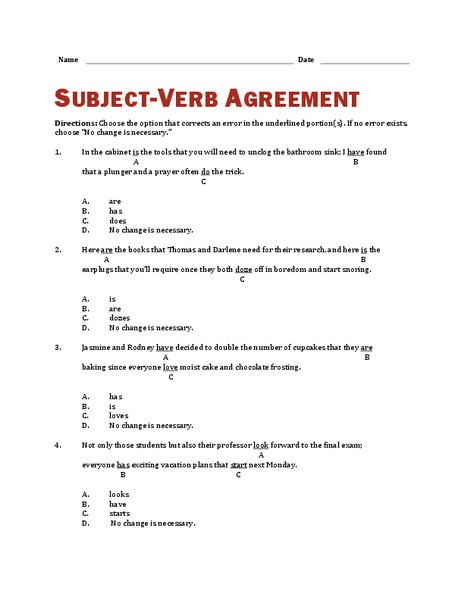 Subject-Verb Agreement Worksheet
