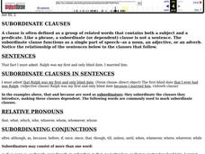 Subordinate Clauses Worksheet