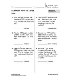 Subtract Across Zeros Worksheet