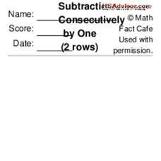 Subtract Consecutively by One Worksheet