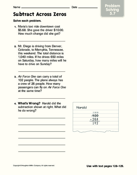 Subtracting Across Zeros Lesson Plans & Worksheets