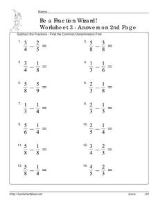 Subtract Fractions Worksheet