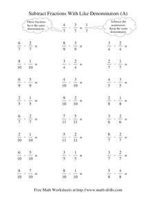 Subtract Fractions With Like Denominators (A) Worksheet