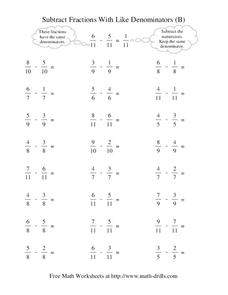 Subtract Fractions with Like Denominators (B) Worksheet