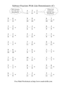 Subtract Fractions With Like Denominators (C) Worksheet