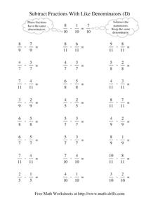 Subtract Fractions With Like Denominators (D) Worksheet