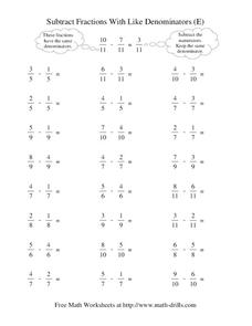 Subtract Fractions With Like Denominators (E) Worksheet