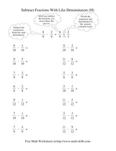 Subtract Fractions with Like Denominators (H) Worksheet