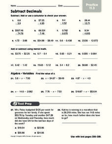 Subtract Decimals Worksheet
