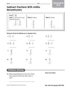 Subtract Fractions With Unlike Denominators Worksheet