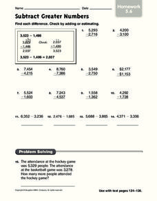 Subtract Greater Numbers Worksheet
