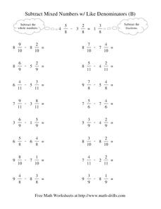 Subtract Mixed Numbers with Like Denominators Worksheet
