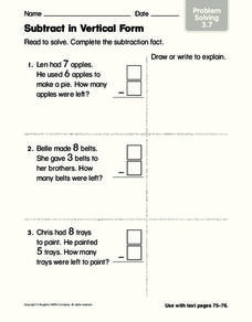 Subtract in Vertical Form Worksheet