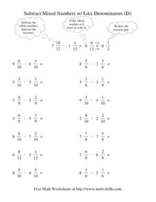 Subtract Mixed Numbers with Like Denominators (D) Worksheet