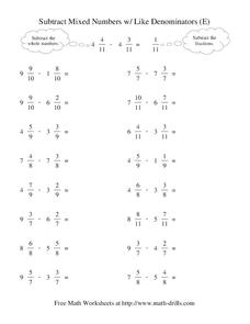 Subtract Mixed Numbers With Like Denominators (E) Worksheet