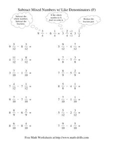 Subtract Mixed Numbers with Like Denominators (F) Worksheet