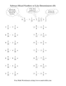 Subtract Mixed Numbers with Like Denominators (H) Worksheet