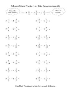 Subtract Mixed Numbers With Like Denominators (G) Worksheet