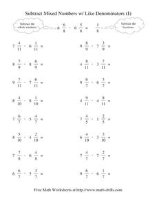 Subtract Mixed Numbers with Like Denominators (I) Worksheet