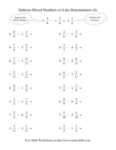 Subtract Mixed Numbers With Like Denominators (J) Worksheet