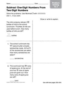 Subtract One-Digit Numbers From Two-Digit Numbers Worksheet
