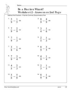 Subtract the Fractions Worksheet