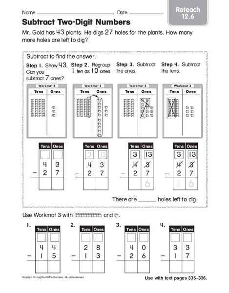 Common Worksheets » Two Digit Subtraction With Regrouping ...