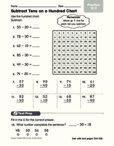 Subtract Tens on a Hundred Chart Worksheet