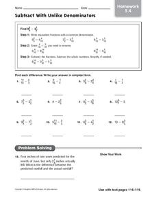 Subtract With Unlike Denominators Worksheet
