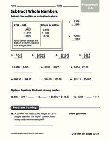 Subtract Whole Numbers Worksheet