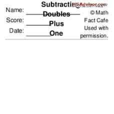 Subtracting Doubles Plus One Worksheet